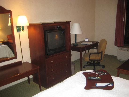 Hampton Inn Chicago Naperville: TV and desk.  Probably could use an updating