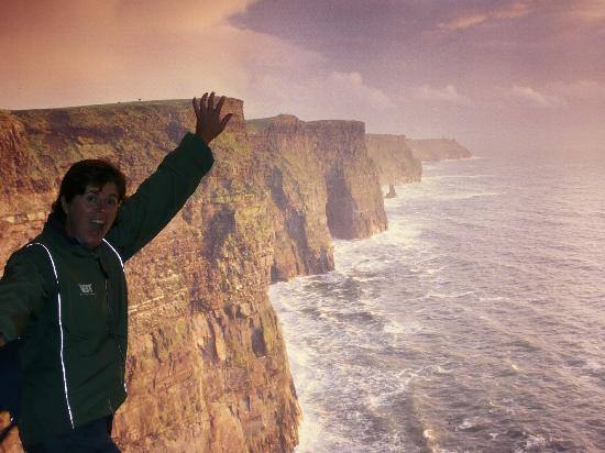 "Sheedy's Country House Hotel : Gina hanging off the ""mythical"" Moher Cliffs"