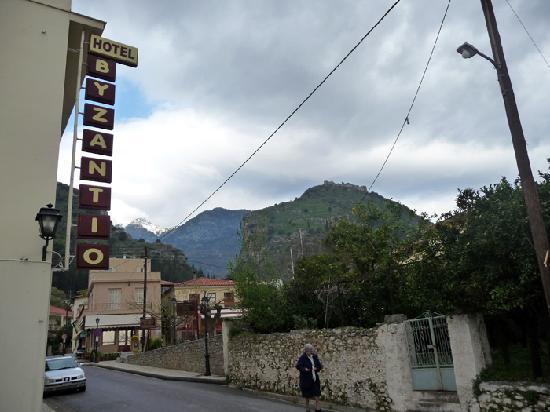 "Byzantion Hotel : ""Hotel Byzantio"" sign outside"
