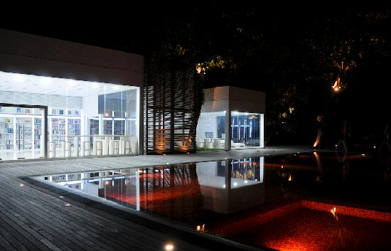 The library and DVD room at night