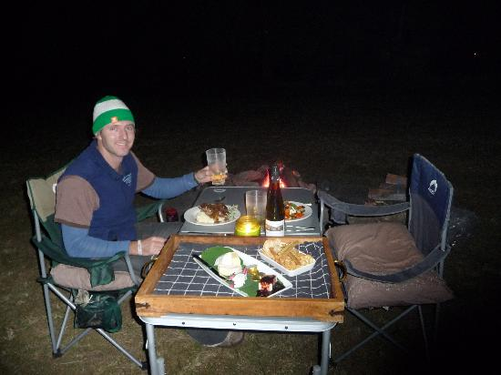 Mt Barney Lodge Country Retreat: Home cooking delivered to our campfire dinner table!