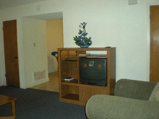 The Resort at Schlitterbahn : Living room different angle-3 bedroom townhome.  TV wasn't anything special.