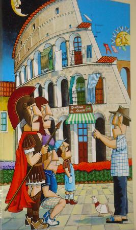 Aspettando Il Pane: a painting from the resturant
