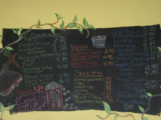 Creative Discovery Museum: Snack Bar Menu