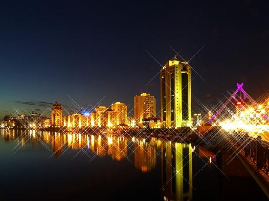 Astana, Kasakhstan: Ishim river at night