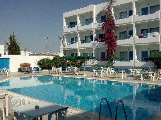 Hotel Les Citronniers: photo de la piscine avec un des 2 bâtiments de l'hôtel