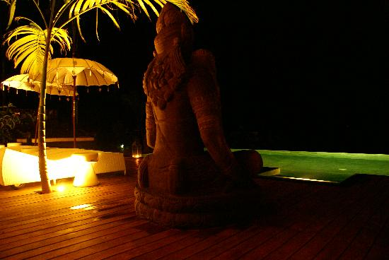 Oxygen Jungle Villas: The BIG statue by the pool at night