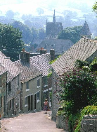 Looking down Greenhill at Wirksworth towards the church