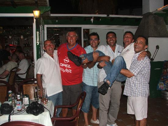 Elena Apartments: the staff and me on bbq night