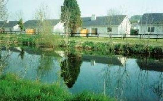 Robertstown, Irland: view of houses from lock side of canal