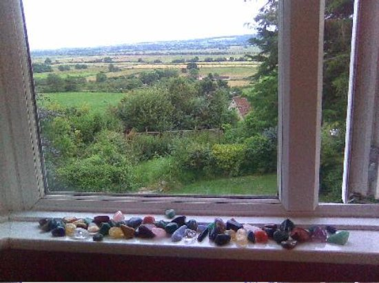 Glastonbury Properties - Hillside : view overlooking countryside with crystals
