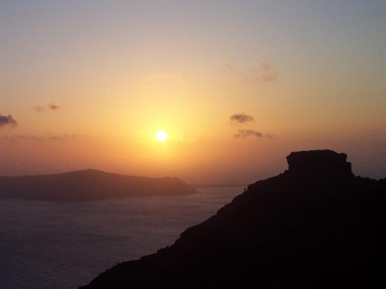 Dreams Luxury Suites: Sunset towards Skaros.  From bottom deck