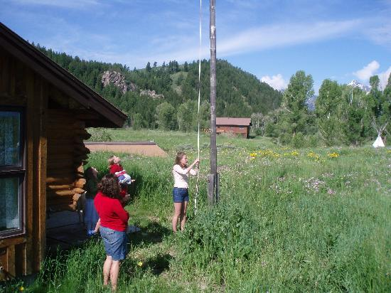 McReynolds Blacktail Cabins: Raising of the flag for the 4th of July