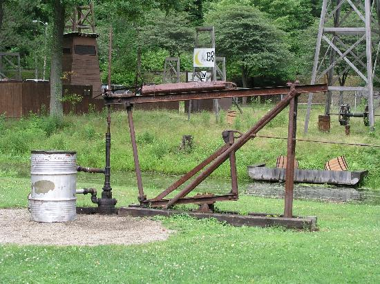 Drake Well Museum: part of the level grounds and working pump