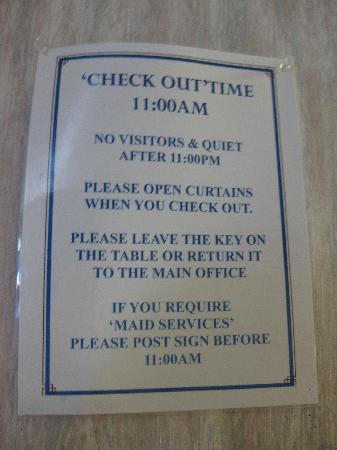 Oasis Inn : Sample of rules and regs