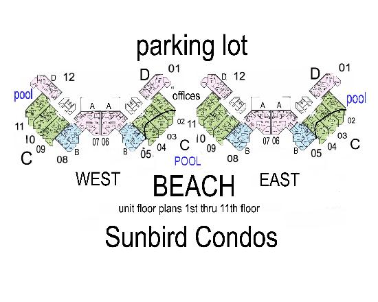 Sunbird Condominiums: here is a map that I put together from pieces of info and being there, hope it helps