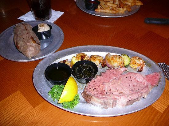 The Park Grill: Rare Prime Rib, Sweet Potato & Grilled Shrimp at Park Grill