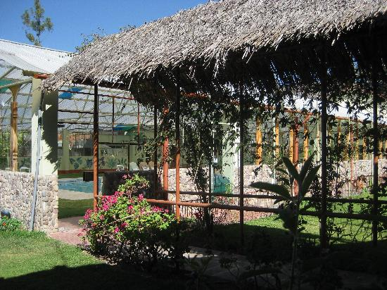 La Quinta Eco Hotel: walk to the covered pool - that has turtles and real grass around the tiled area surrounding the