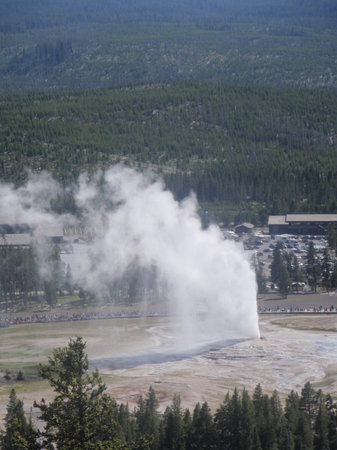 Observation Point Trail: View of Old Faithful from Observation Point