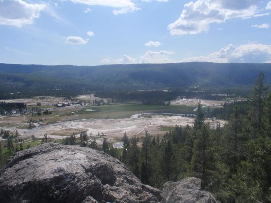 Observation Point Trail: View of the geyser basin at Observation Point