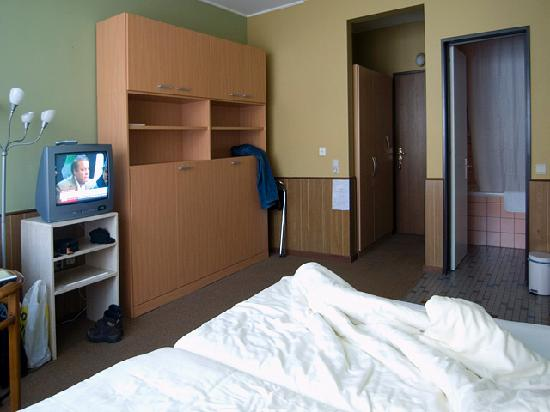 Euro: Spacious, moderately decorated room.