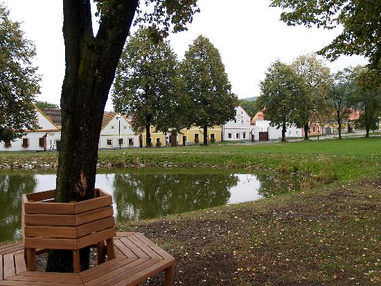 Holašovice: The village green and pond at Holasovice