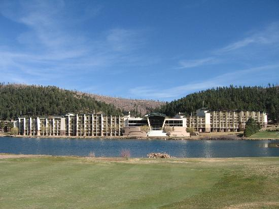 Mescalero, NM: View of Hotel West Side - Lake Side