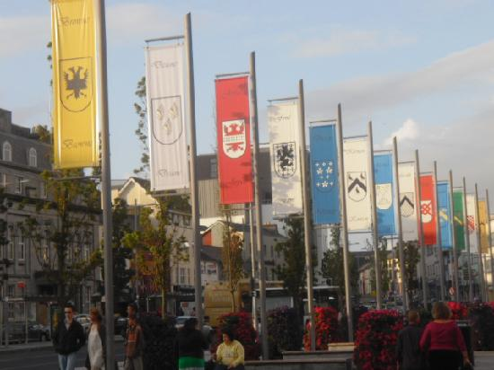 Corrib Haven Guest House: The town square in Galway, with tribes' flags