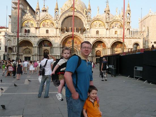 San Marco Palace Suites: The hubby and boys in St. Mark's Square, about a minute from the hotel
