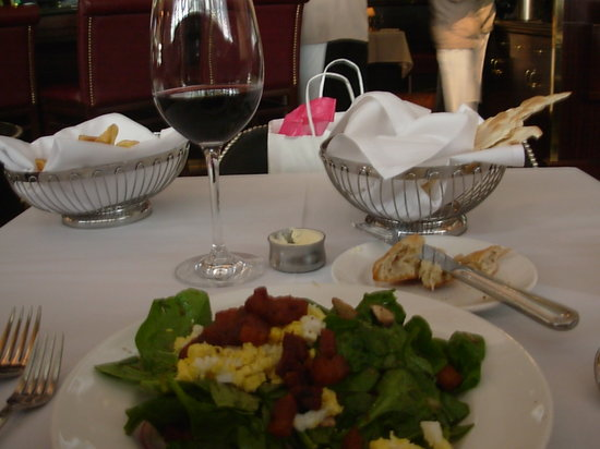 The Capital Grille : Spinach Salad with warm bacon dressing. Note size of wine pour before first sip.