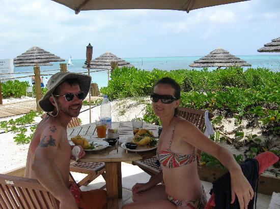 """Caribbean Paradise Inn: lunch at """"Somewhere on the Beach"""".  coral reef is behind us."""