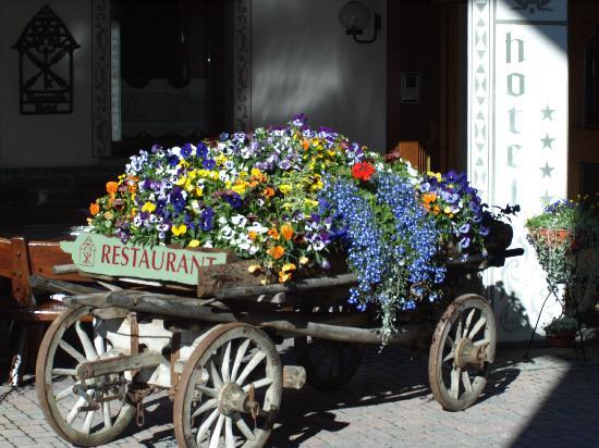 Hotel Baita Fiorita di Deborah Compagnoni: L'antico carro ricoperto di fiori all'entrata dell'Hotel Baita Fiorita