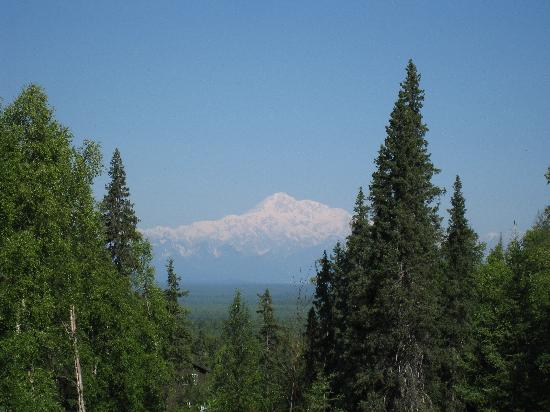 Talkeetna Treetop Chalet: Mt. McKinley view from chalet front door