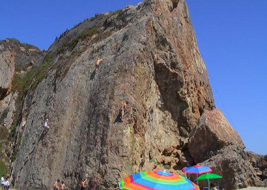 Point Dume State Beach and Preserve: Rock climbers at Point Dume