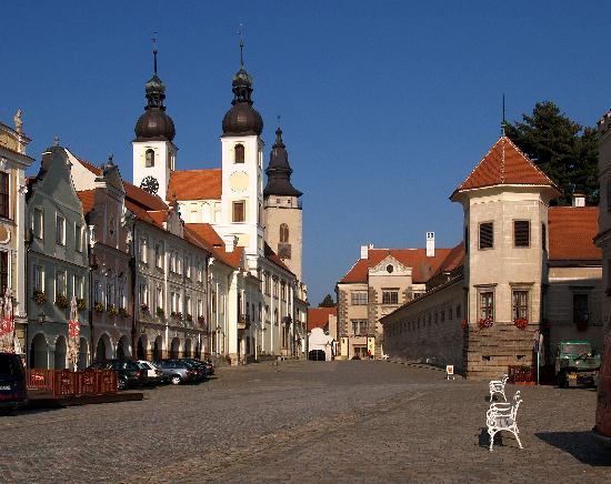 Telc main square, with church and castle