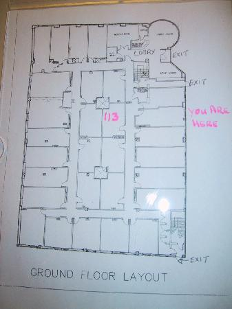 Days Inn Hamilton : Location of Room 113 on ground floor