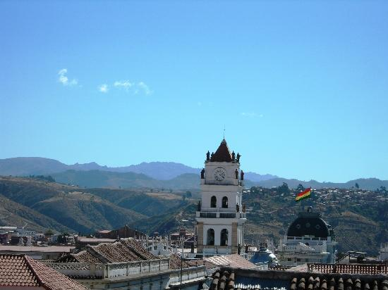 Hostal Patrimonio - Sucre: Downtown from rooftop of Hostel