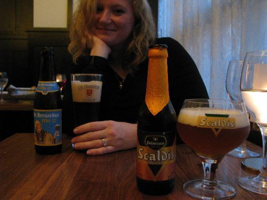 Brasserie Beck: My wife enjoying her beer