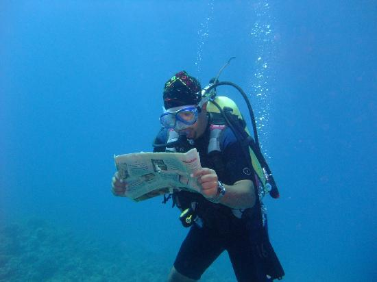 Aqaba International Dive Center: Mohammed reading a newspaper he found 15m!