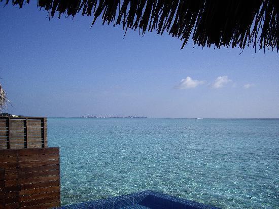 Taj Exotica Resort & Spa: View to Male from the deck - Villa 430