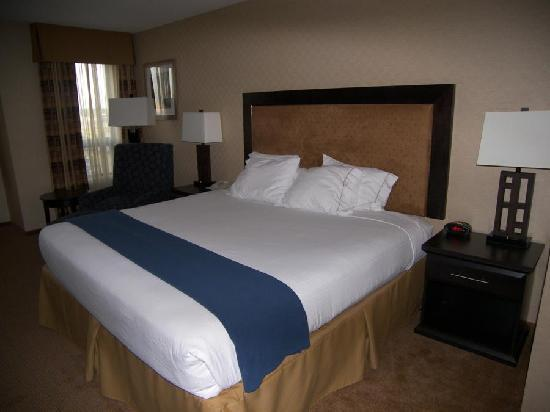 Holiday Inn Express Hotel & Suites Riverport: A nice comfy king sized bed with crisp linens.