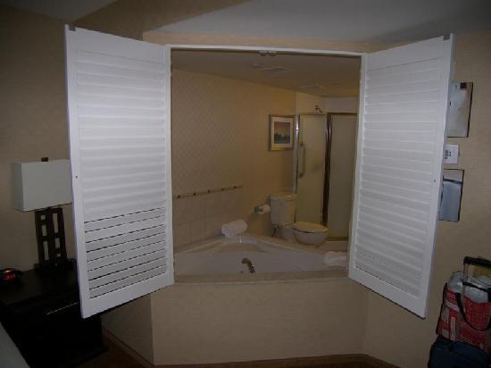Holiday Inn Express Hotel & Suites Riverport: Shutters in the from the main room opened to the jacuzzi tub.