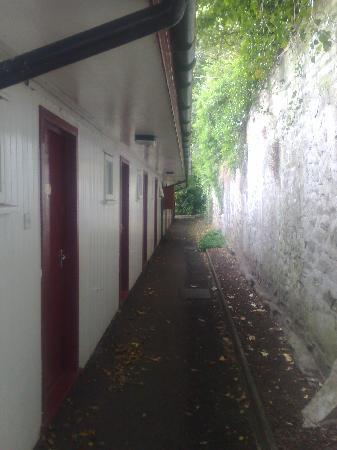 The Royal Dunkeld Hotel: The rear passageway and entrances to the rooms.