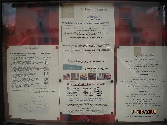 La Fosse at Cranborne : Menu July 2009
