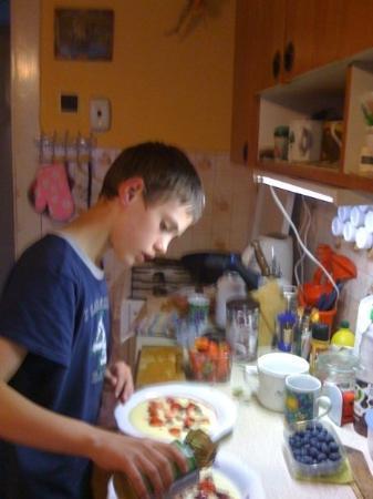 Viking : My grandson Richard preparing Salsa Inglés