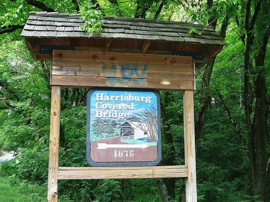 Sevierville, TN: Harrisburg Covered Bridge 1875 sign