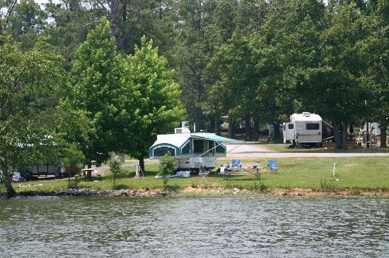 Benton, KY: view of our campsite from the lake