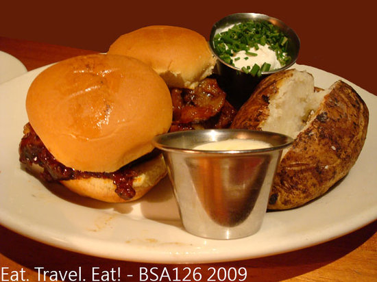 Wood Ranch BBQ & Grill: BBQ Tri Tip Sliders with Baked Potato- lunch combo portion