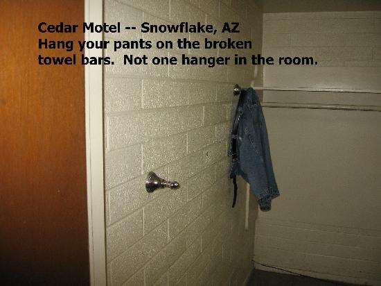 Snowflake, AZ: Hang pants on broekn towel bars