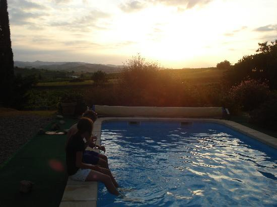 ‪‪B & B in Limoux at Domaine St George‬: The pool at sunset‬